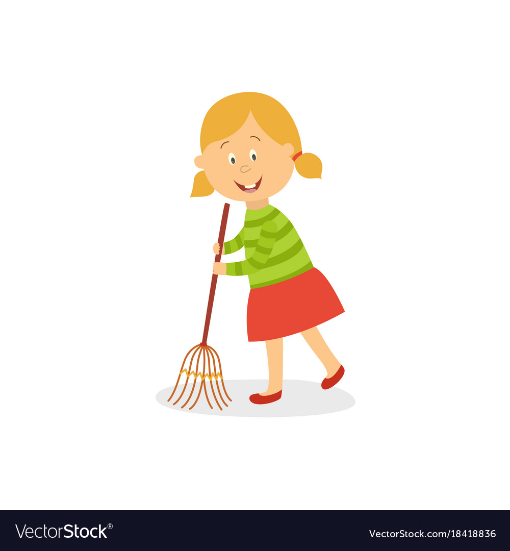 funny little girl sweeping floor with big broom vector image vectorstock
