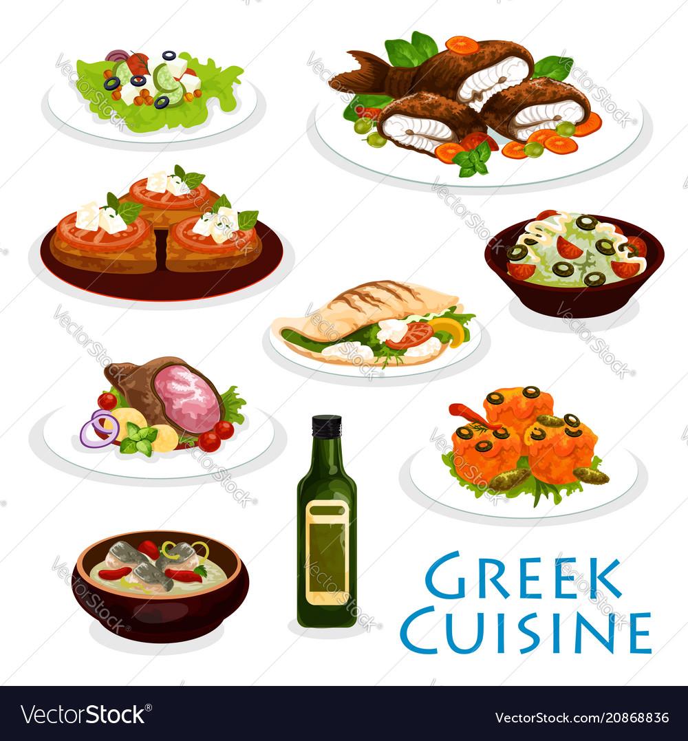 Greek cuisine dinner icon with mediterranean food