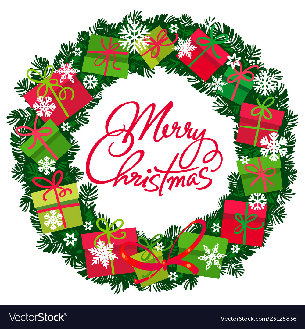 Merry christmas text in center wreath