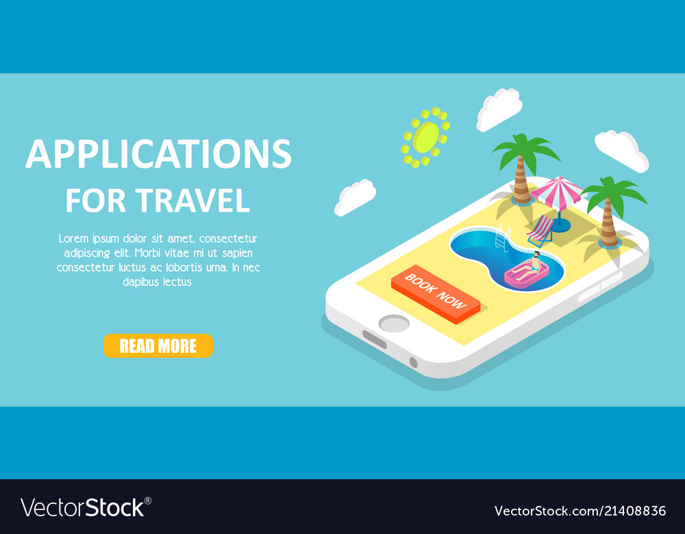 Mobile travel apps isometric Royalty Free Vector Image