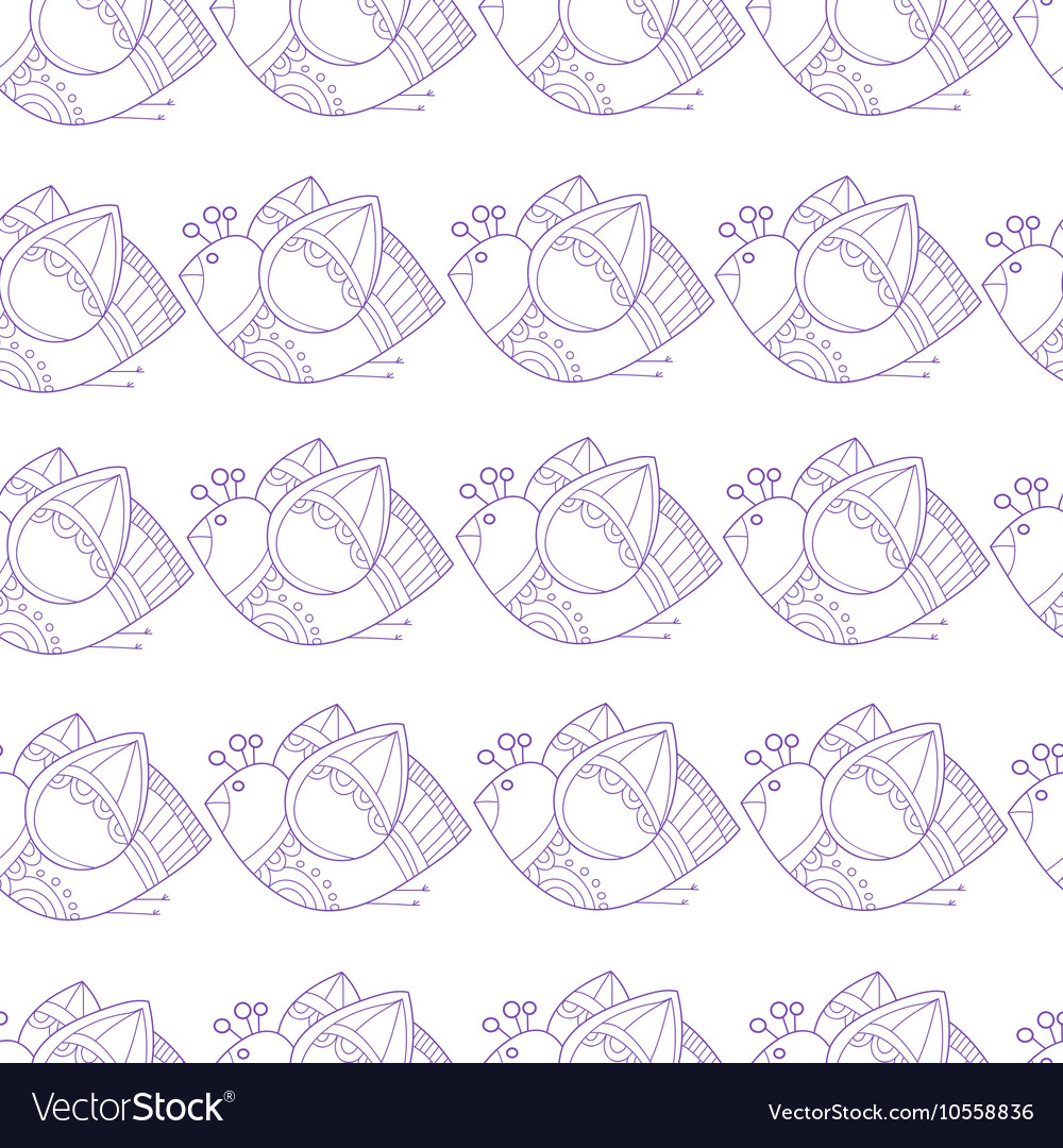 Pattern with stylized birds on white background