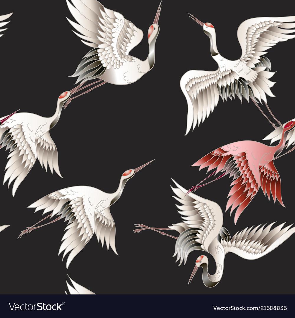 Seamless pattern with japanese white crane