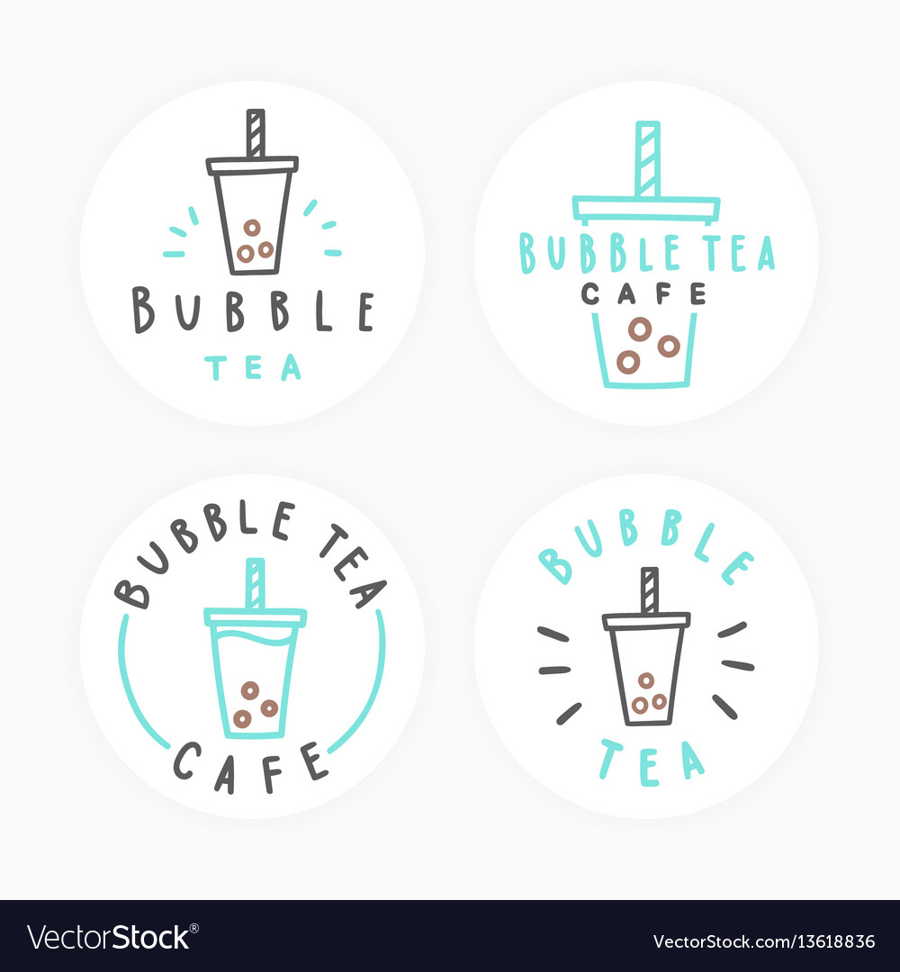 Set of bubble tea badges