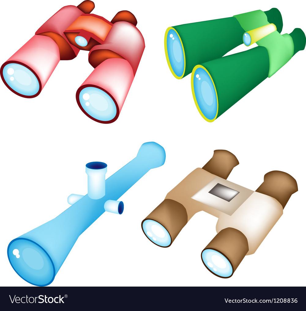 Set of Four Style Binoculars vector image