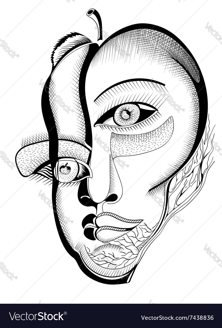 Surreal hand drawing faces