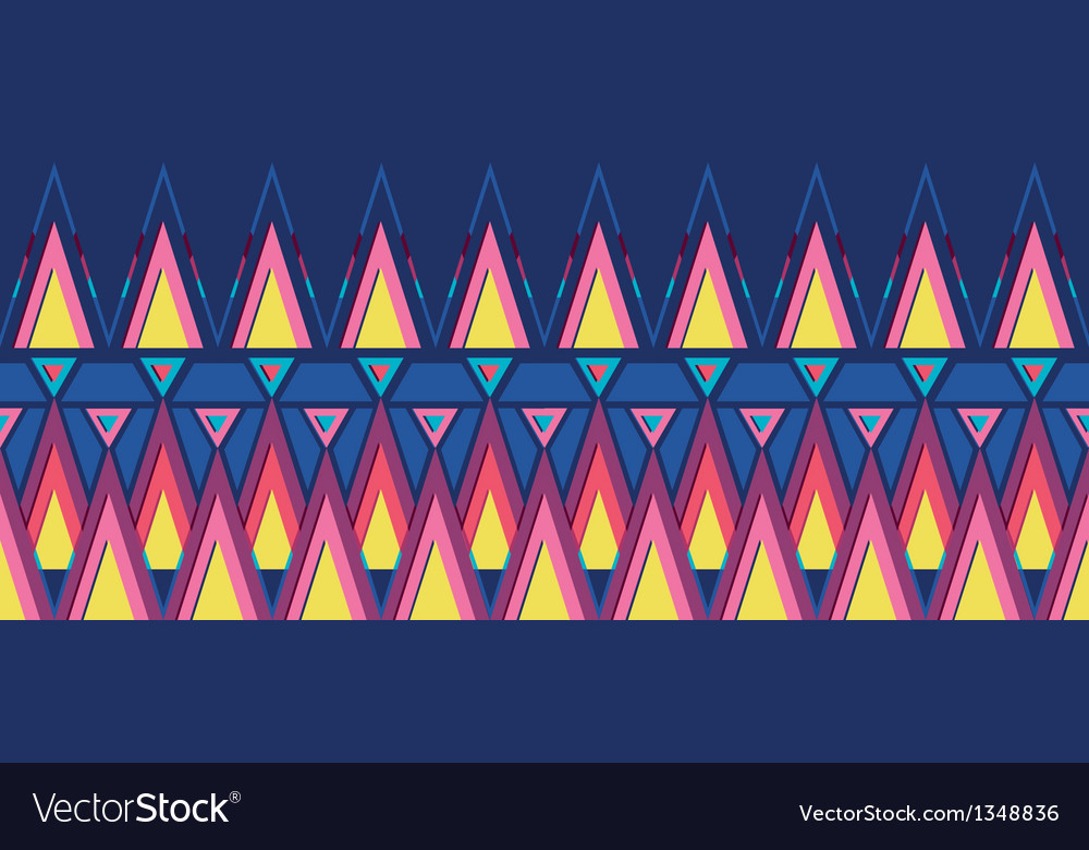 Vibrant triangles horizontal seamless pattern vector image