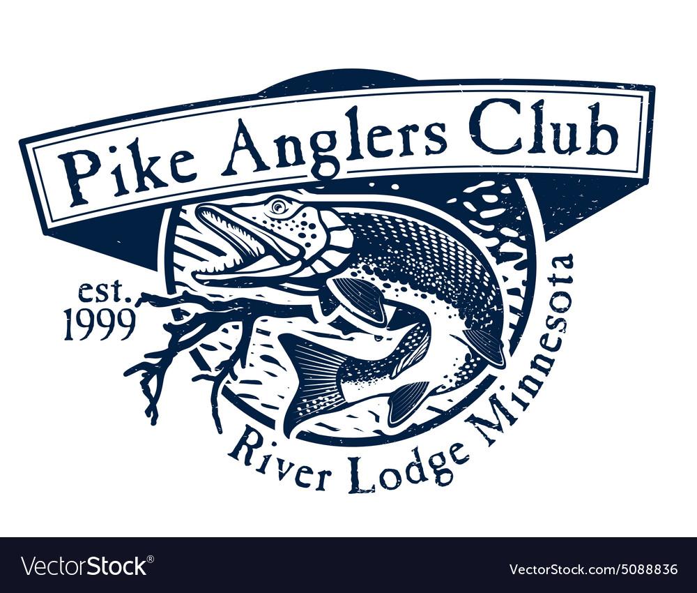 Vintage trout fishing emblems labels and design