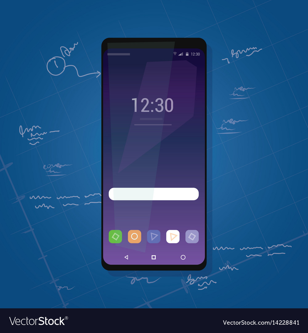 Bezel less smart phone new gadget review with vector image