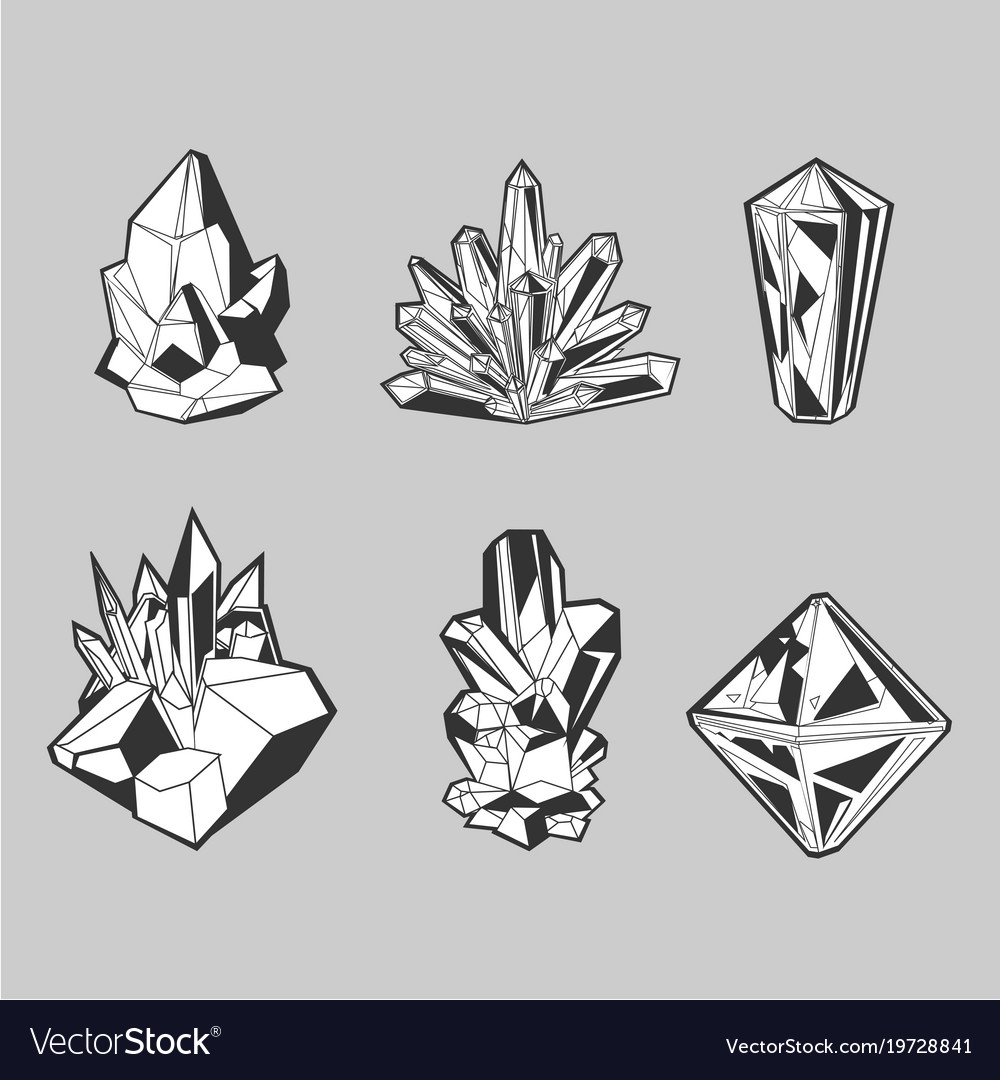 Crystal set isolated icons collection grayscale