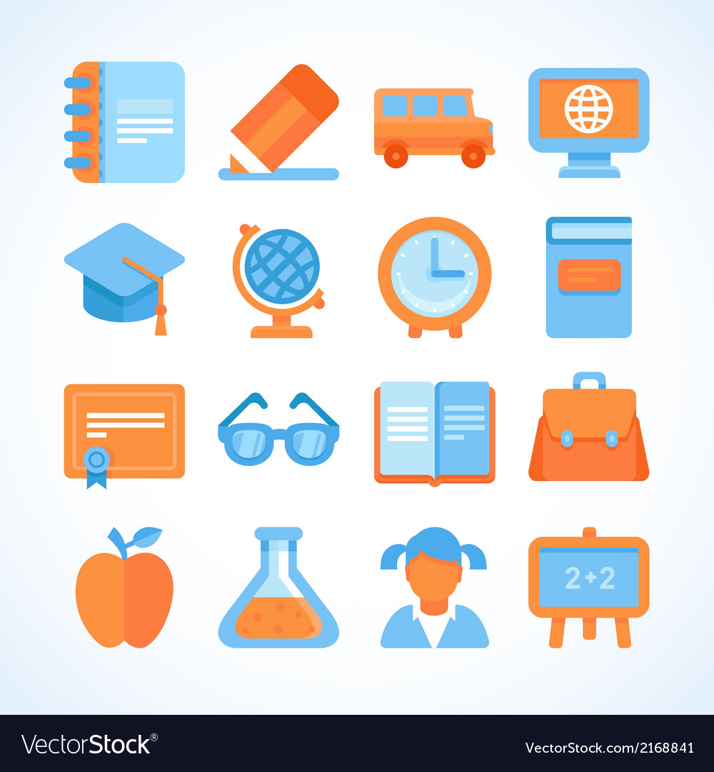 Flat icon set of education symbols vector image