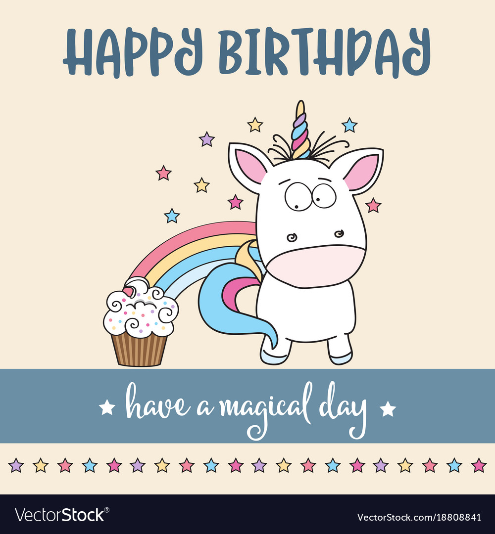 Happy Birthday Card With Lovely Baby Unicorn Vector Image