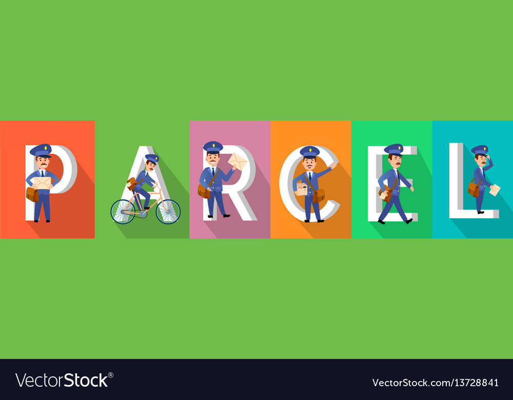Parcel colourful banner with postman character set vector image