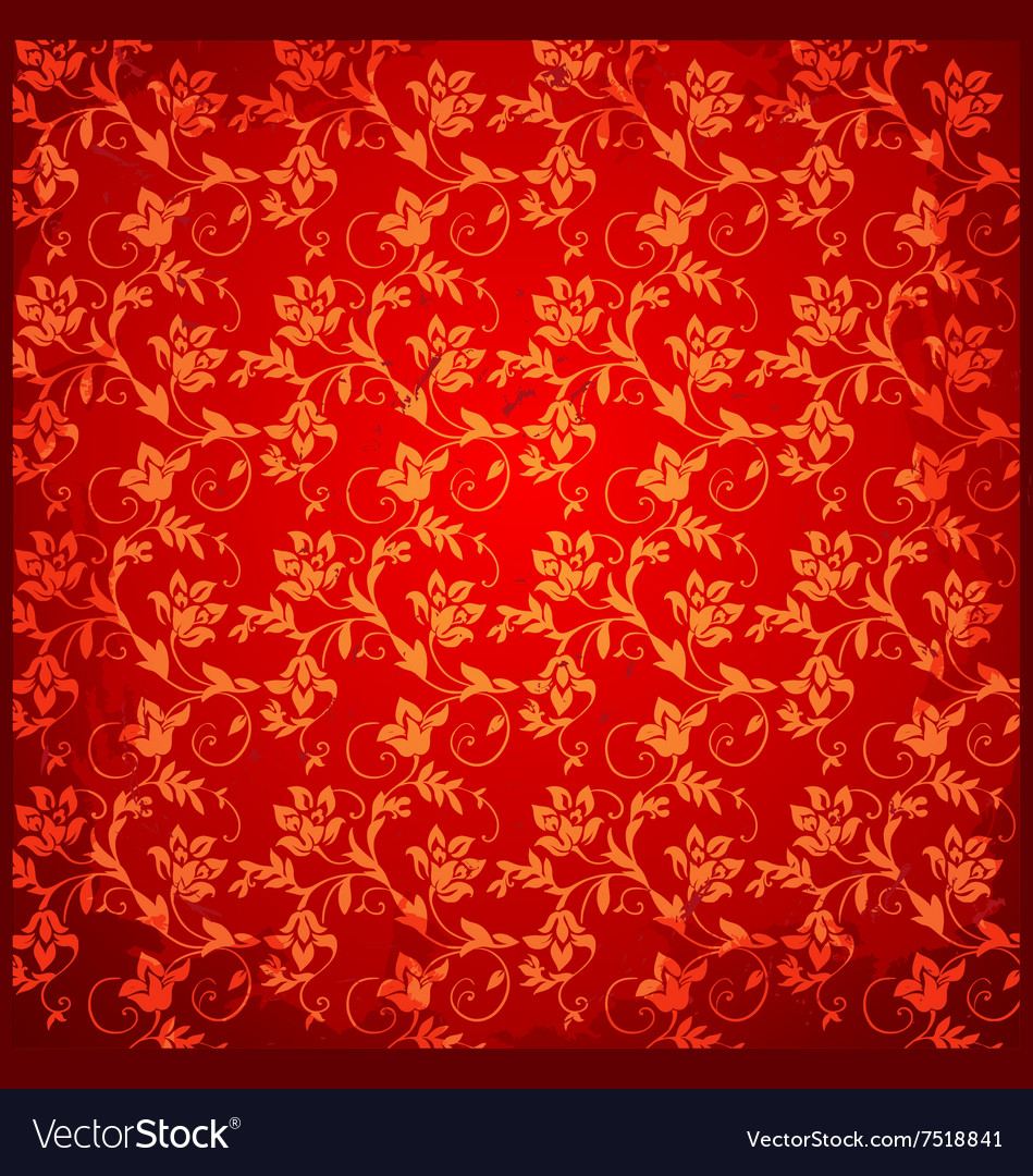 Red Vintage Background Floral Pattern Royalty Free Vector