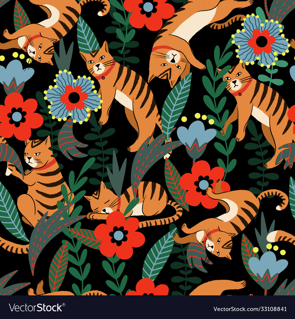 Seamless pattern with tiger and flowers