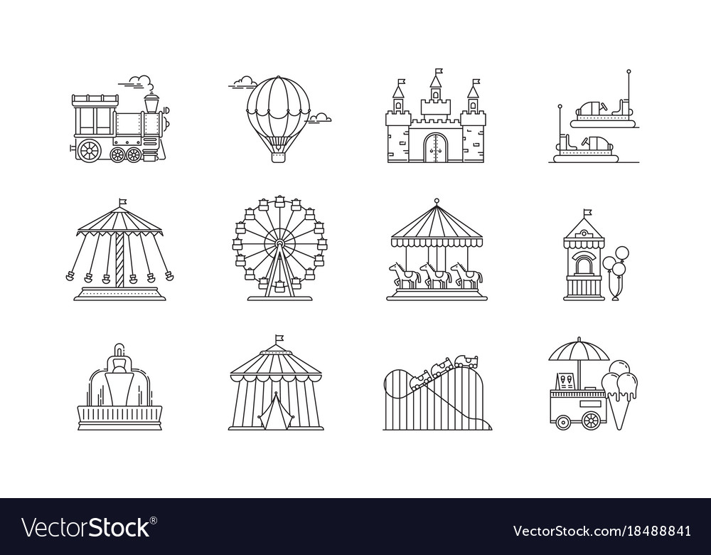 Set of linear park icons flat elements