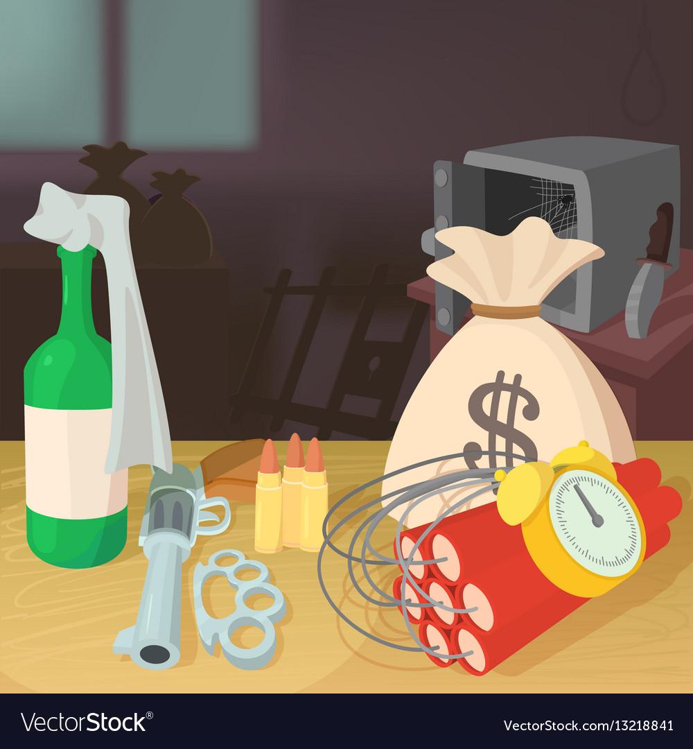 Steal money criminal concept cartoon style