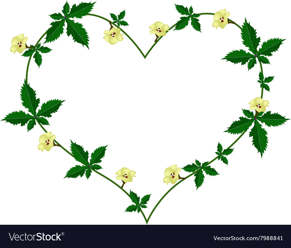 Vine of Flower and Leaves in Beautiful Heart Shape