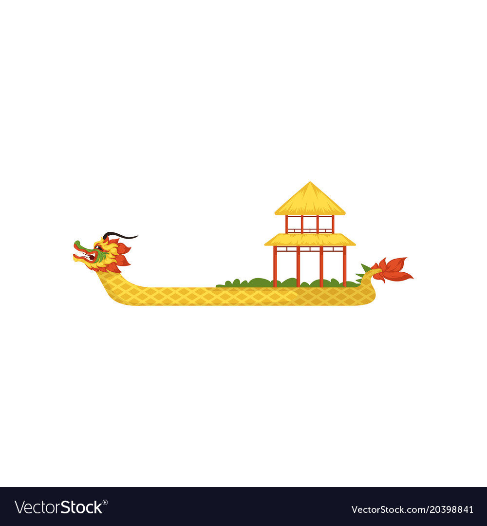 Yellow Dragon Boat Symbol Of Chinese Traditional Vector Image