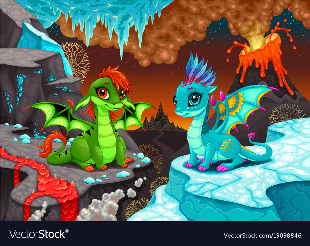 Baby dragons in a landscape with fire and ice