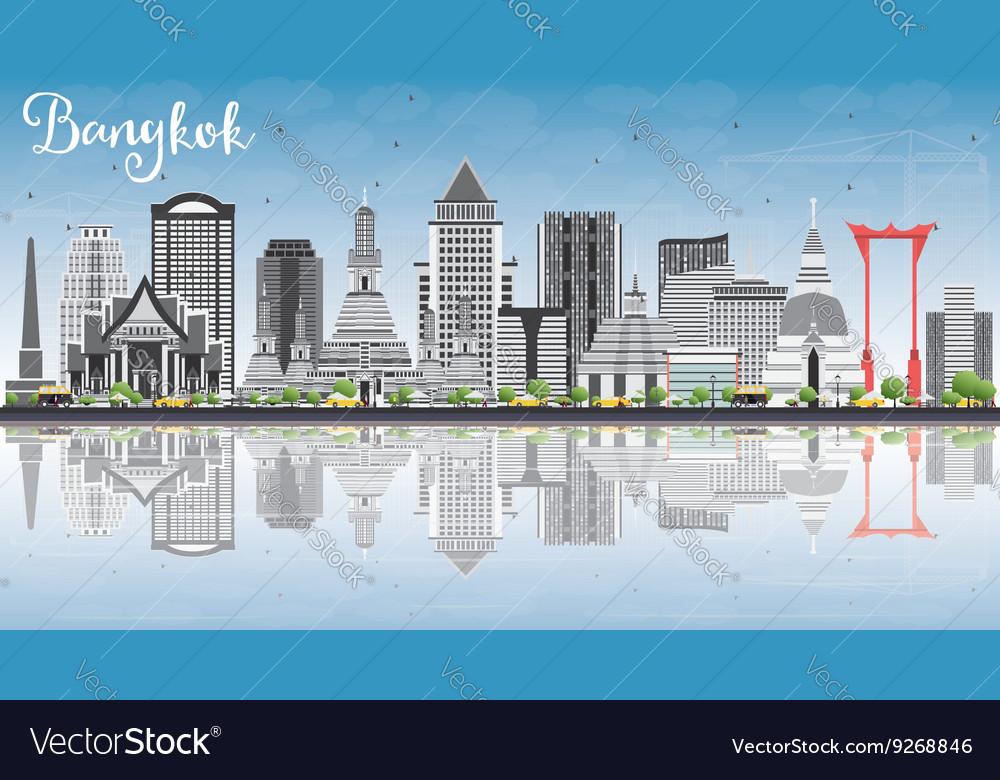 Bangkok Skyline with Gray Landmarks