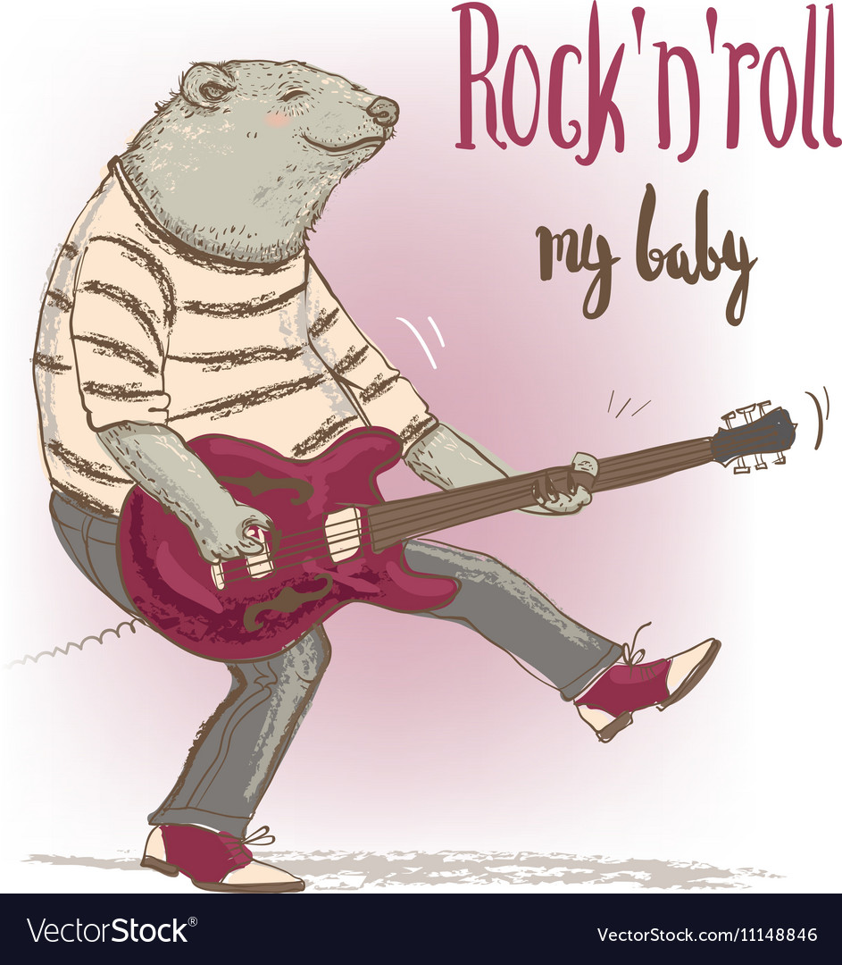 Bear character with guitar