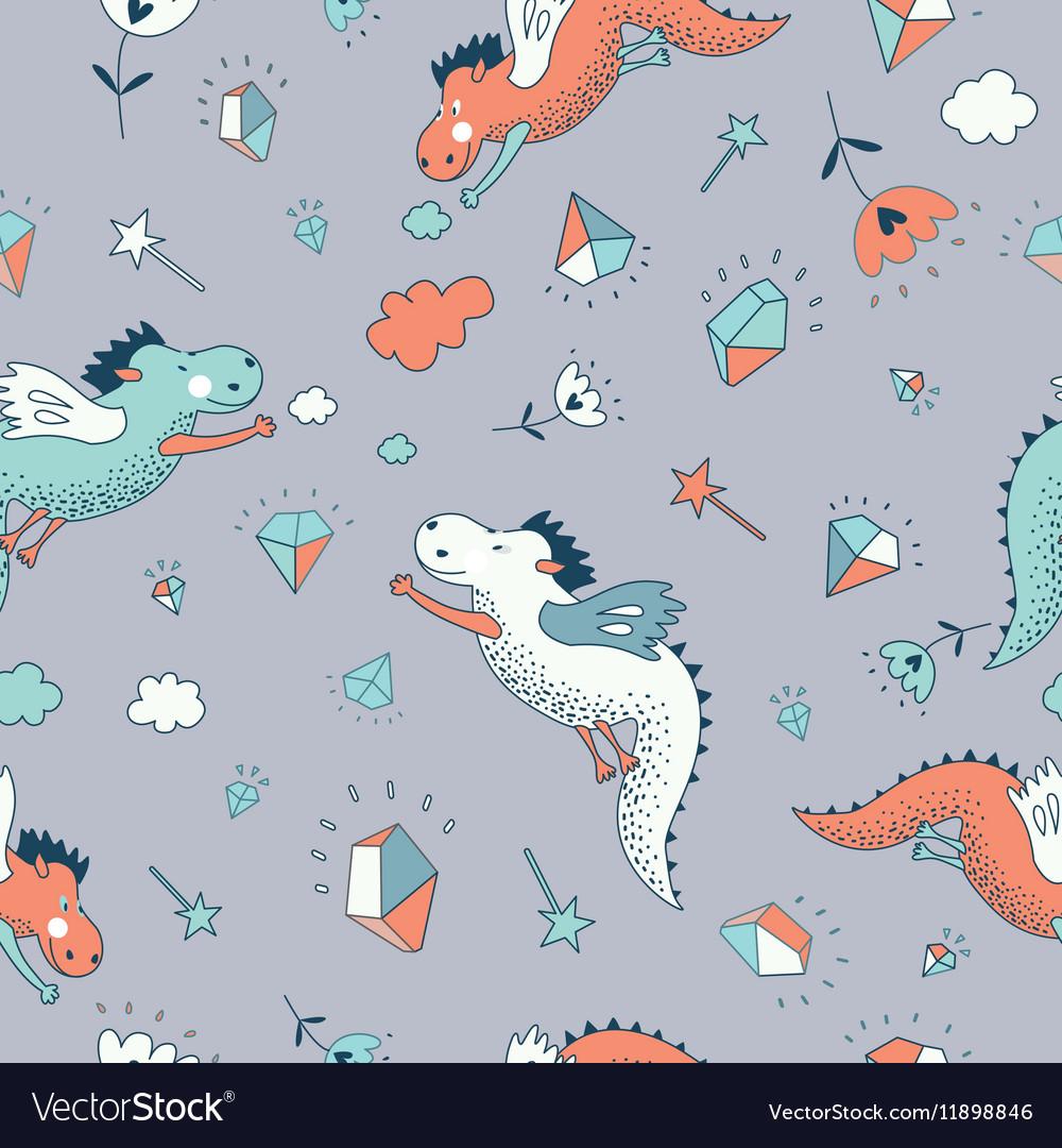 Cute funny seamless pattern hand drawn