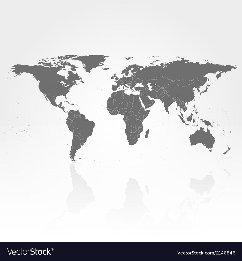 Gray Political World Map Vector Image