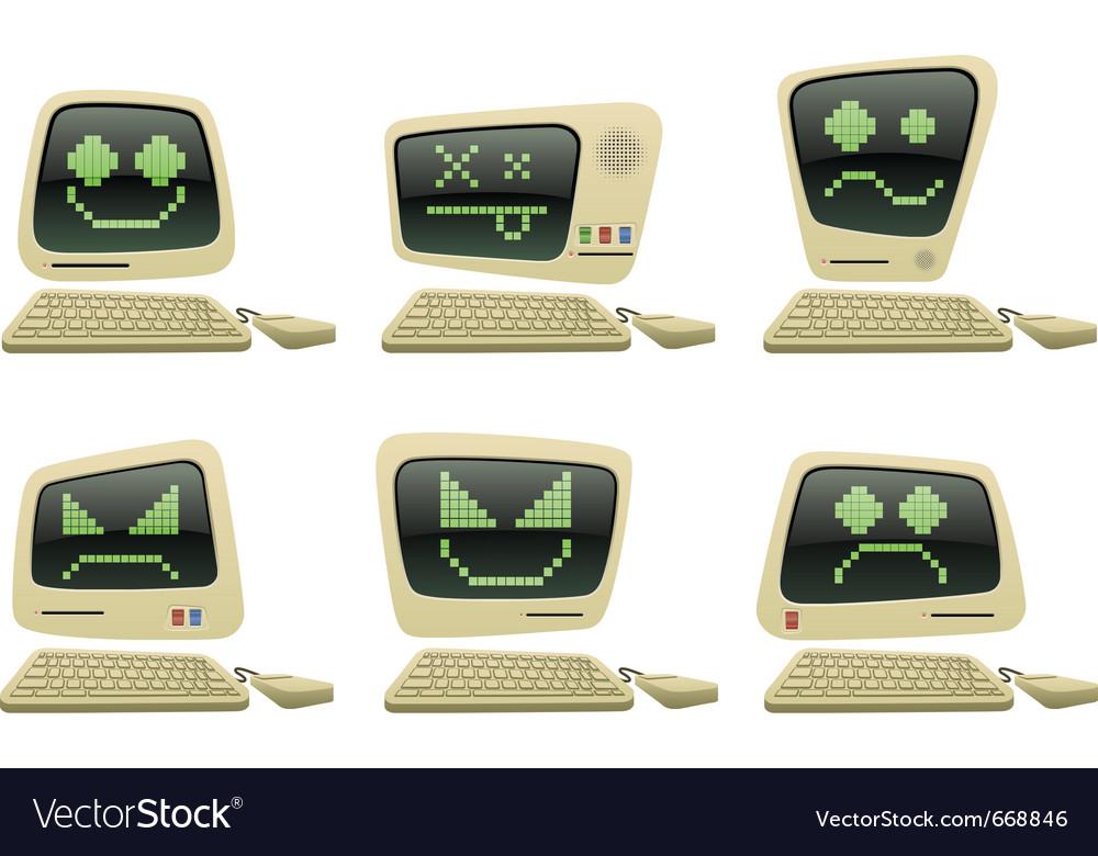 Retro computer icon set with faces vector image