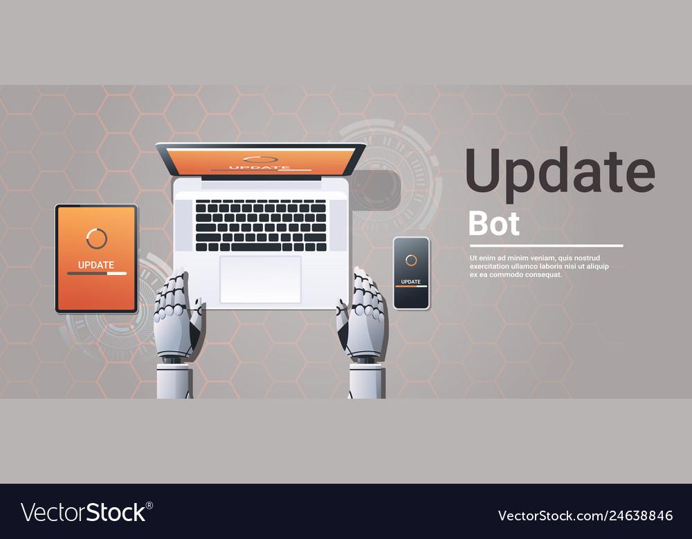 Robot updating digital devices software