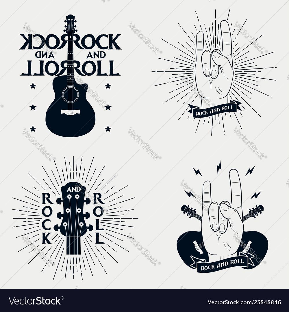 Set rock-n-roll prints for t-shirt