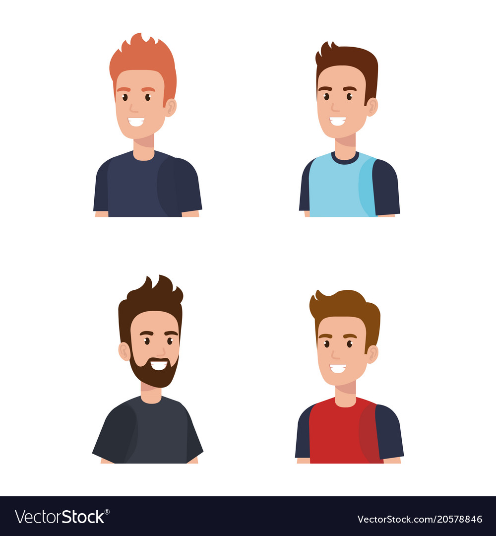 Young men avatars characters