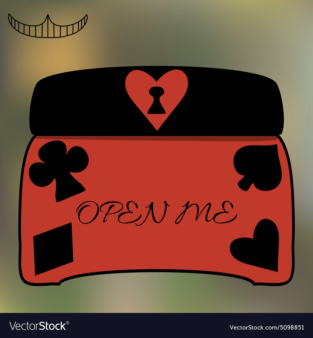 Alice Open Me Key casket jewelry box from vector image