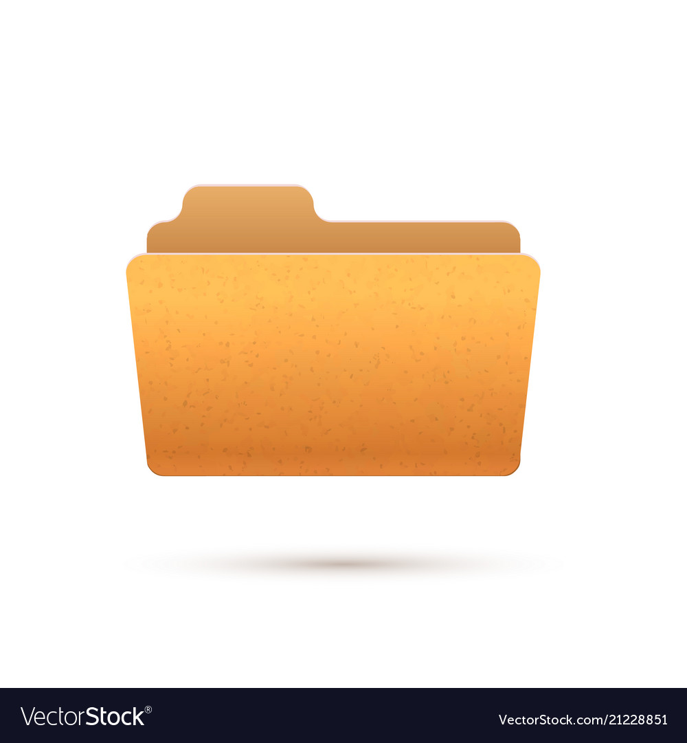 Bright yellow realistic open folder icon isolated