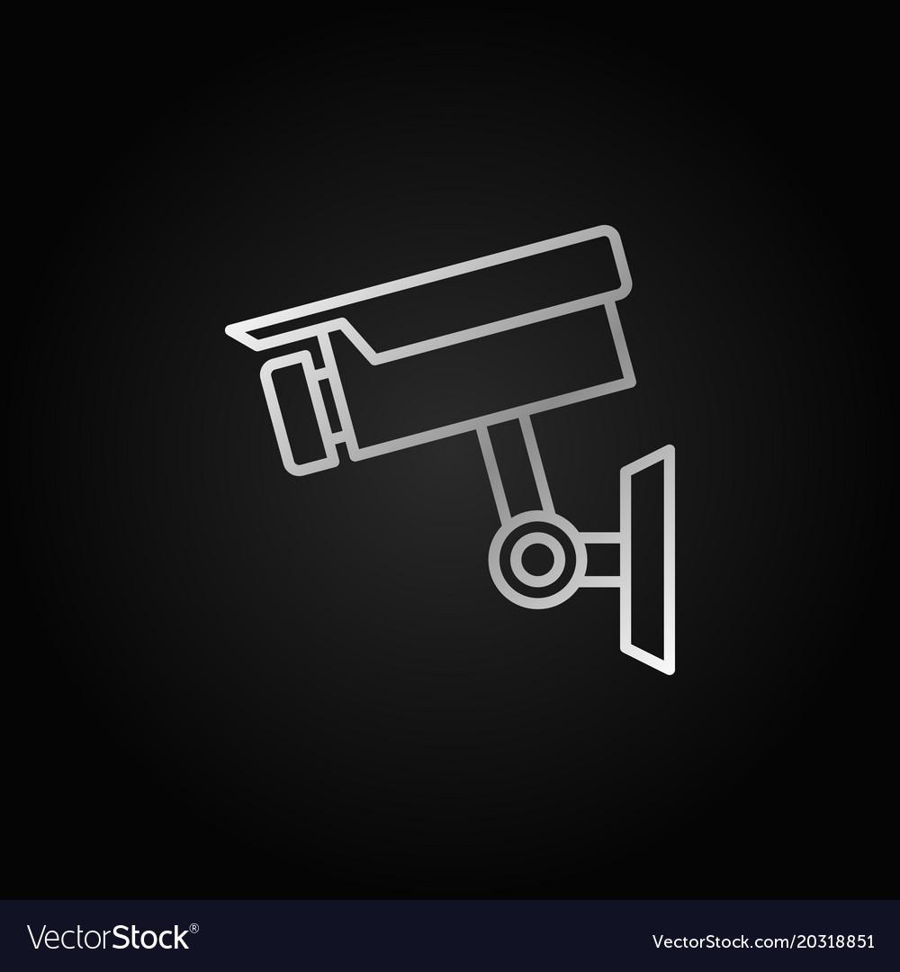 Cctv camera silver icon or linear symbol