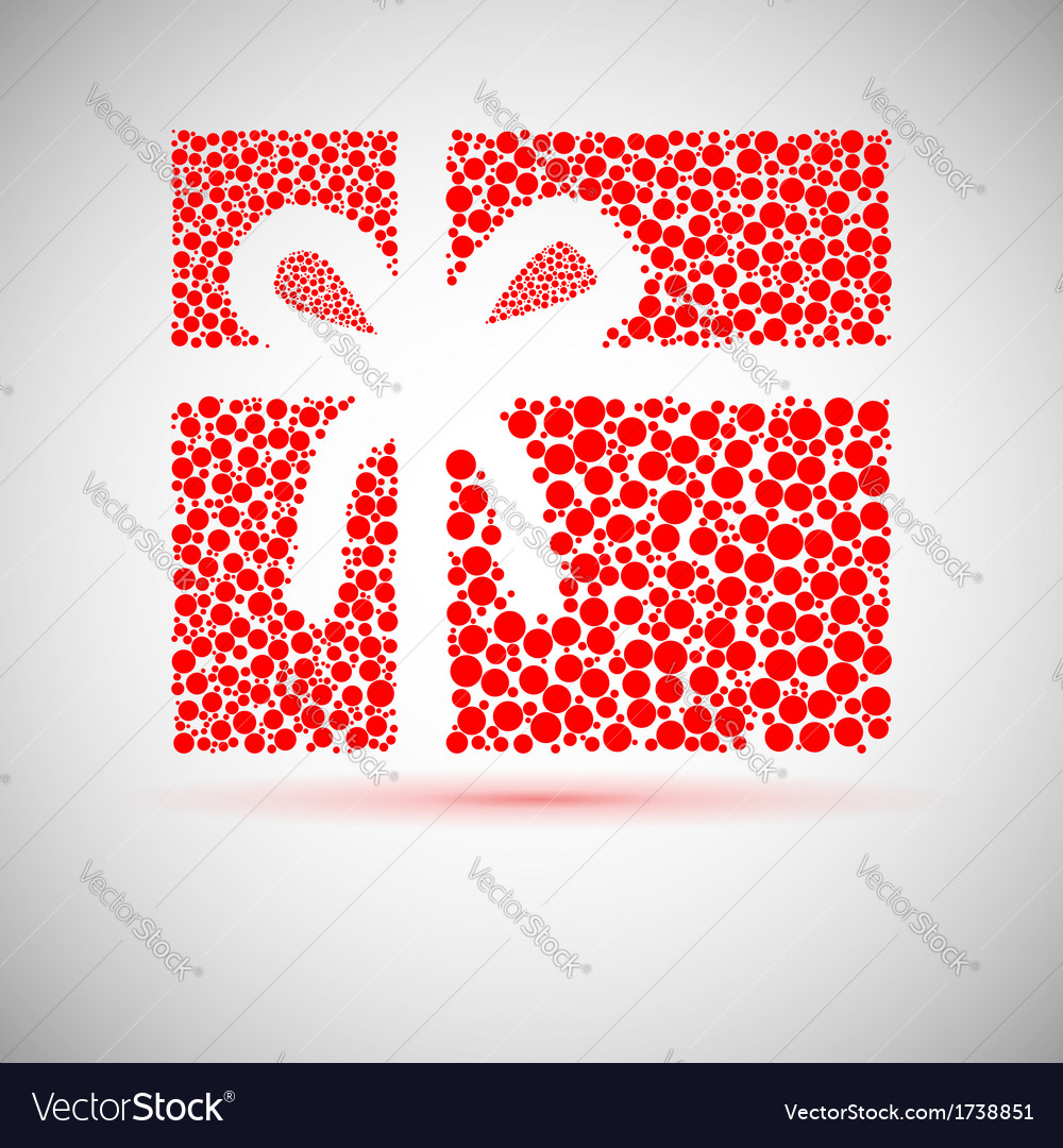 Christmas card gift box with ribbon vector image
