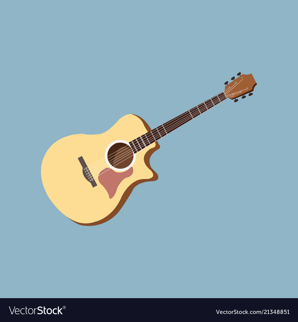 Classical acoustic guitar isolated silhouette