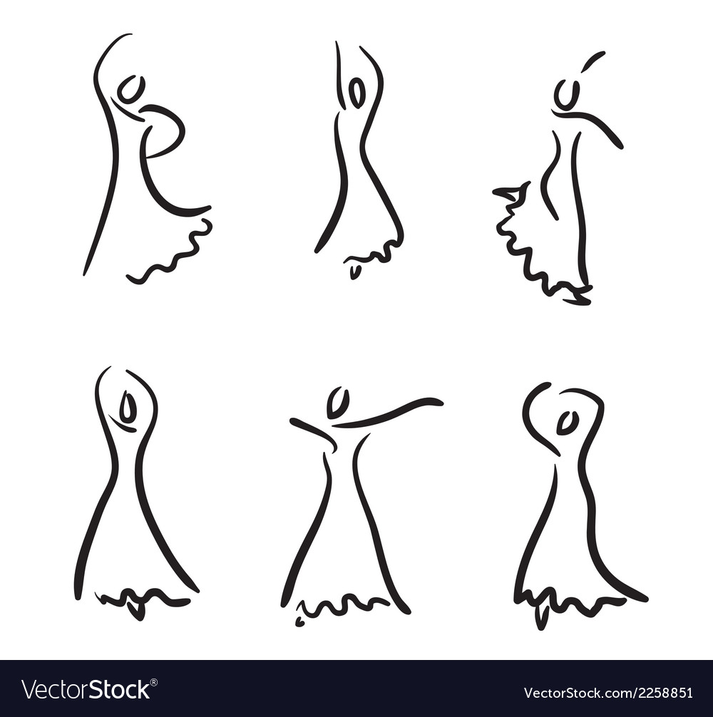 Flamenco dancer sketch set