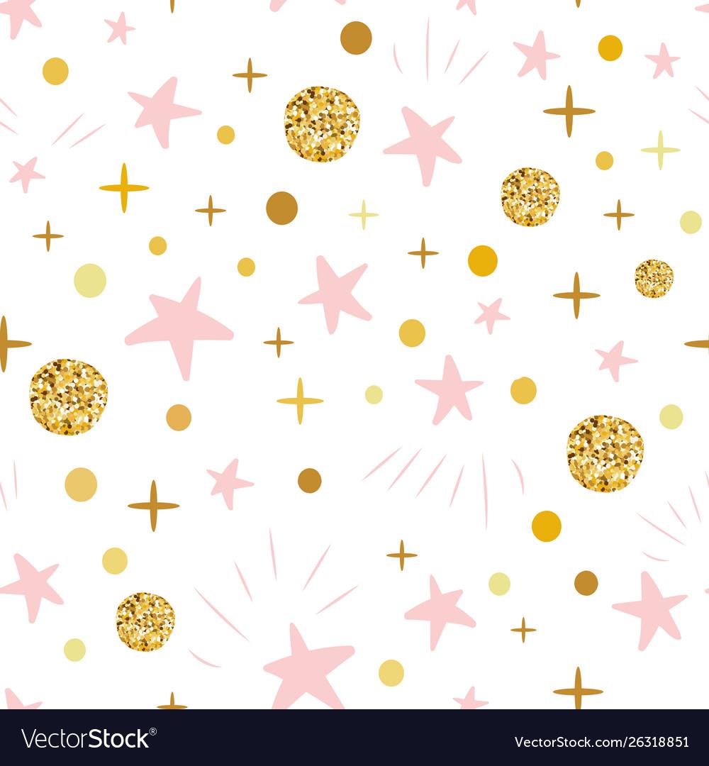 Hand drawn seamless pattern decoreted gold balls