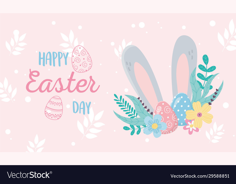 Happy easter day invitation card big ears flowers