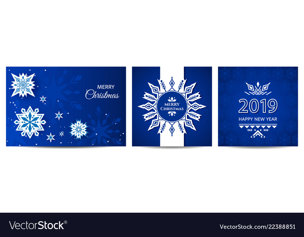 Holiday greeting card set with snowflakes and