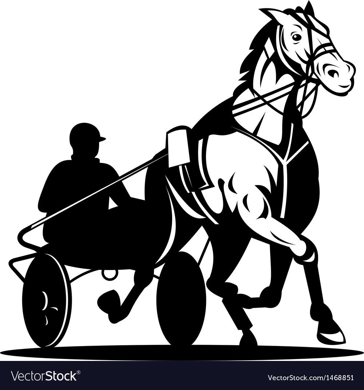 Horse and jockey harness racing Royalty Free Vector Image