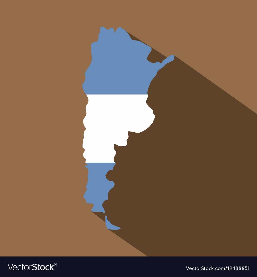Map of Argentina in Argentinian flag colors icon vector image