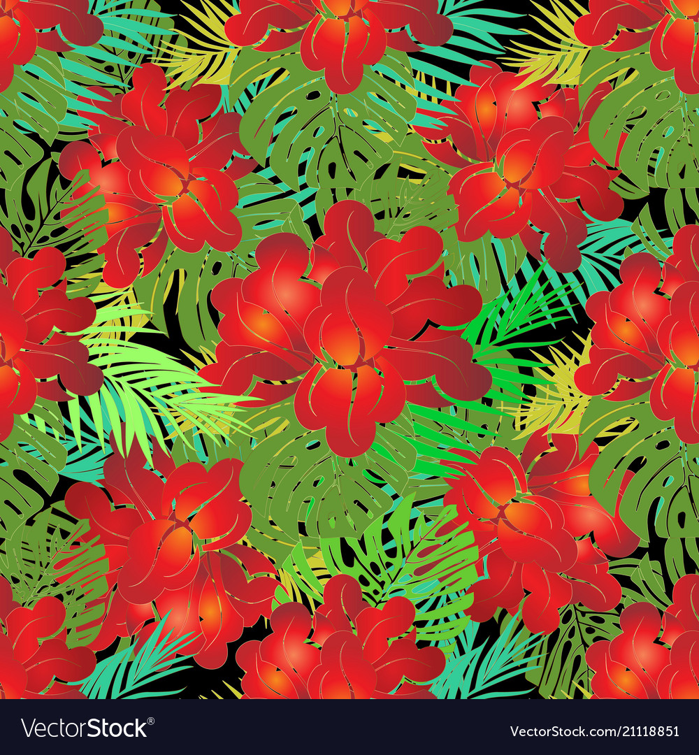 Red exotic tropical flowers seamless pattern