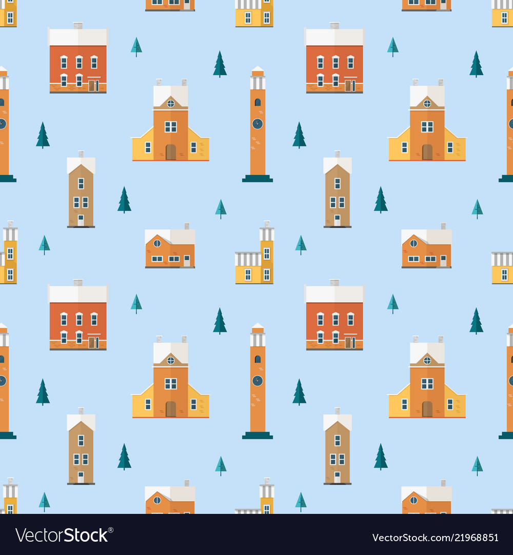Seamless pattern with old buildings clock towers