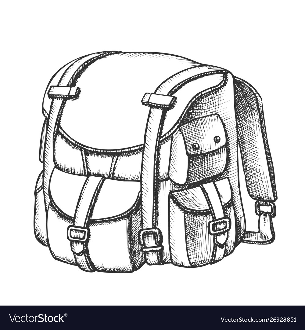 Tourist travel backpack suitcase monochrome