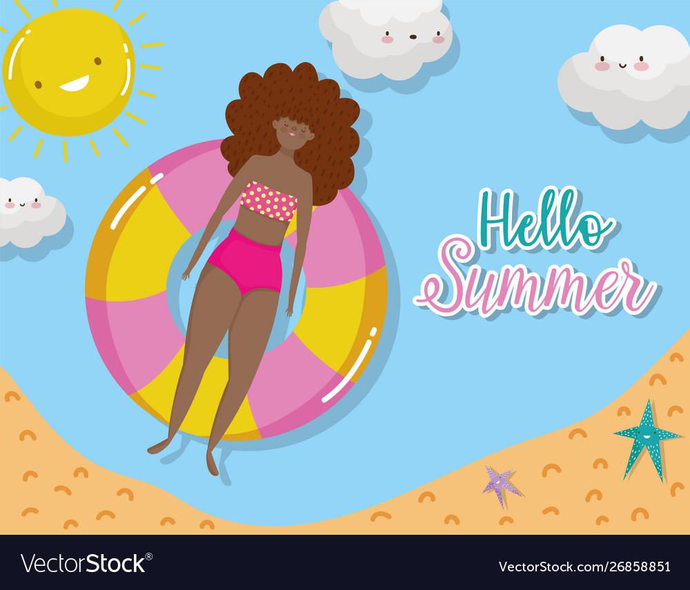 Woman hello summer holiday design