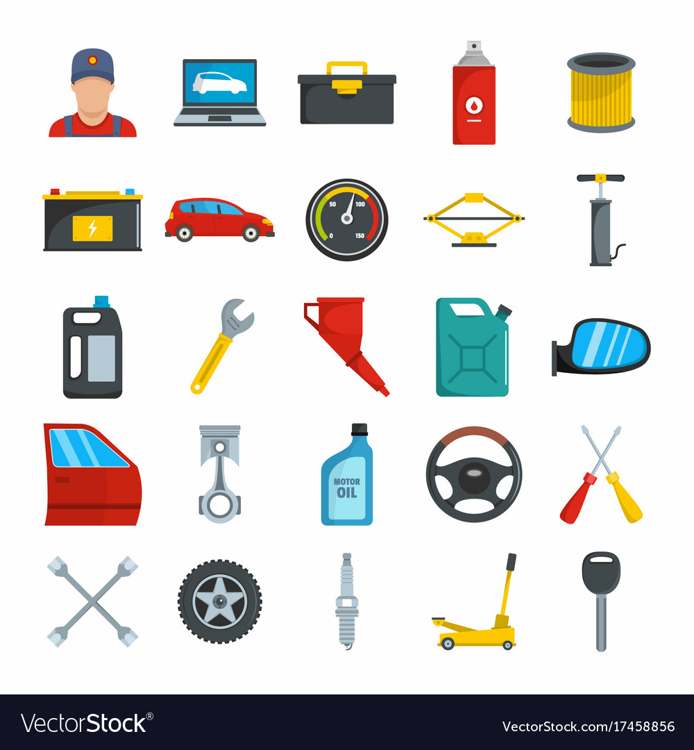 Auto service with tools and car flat icons set