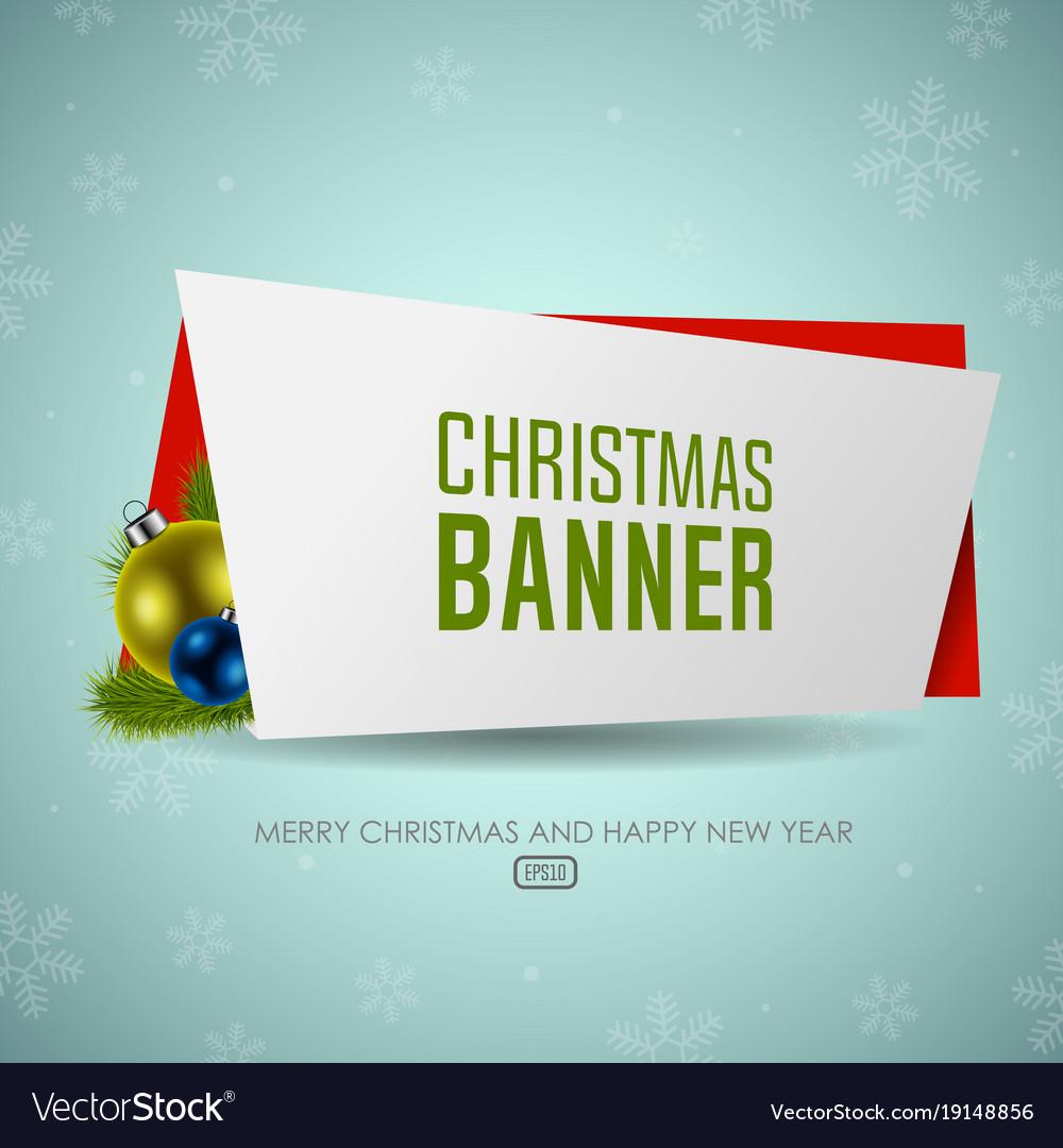 Christmas origami banner with christmas balls
