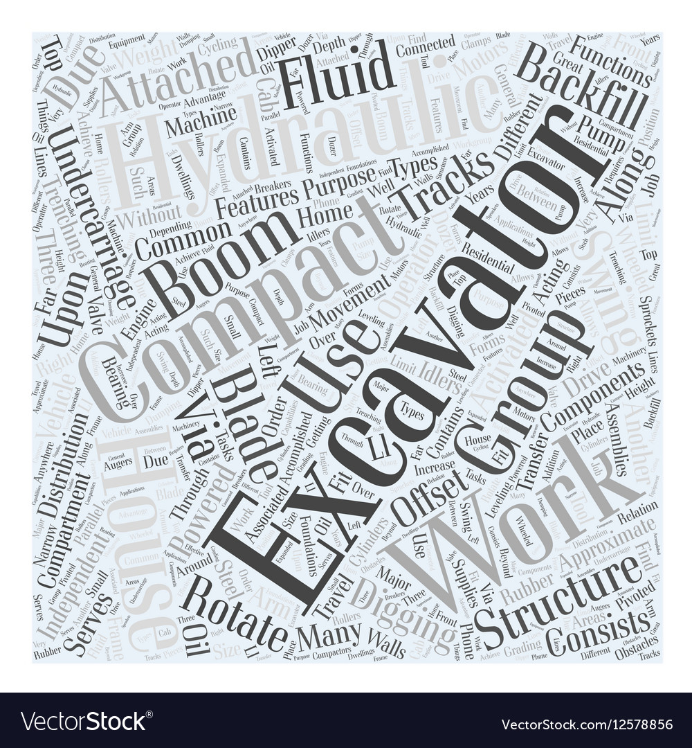 Compact Excavator Word Cloud Concept vector image