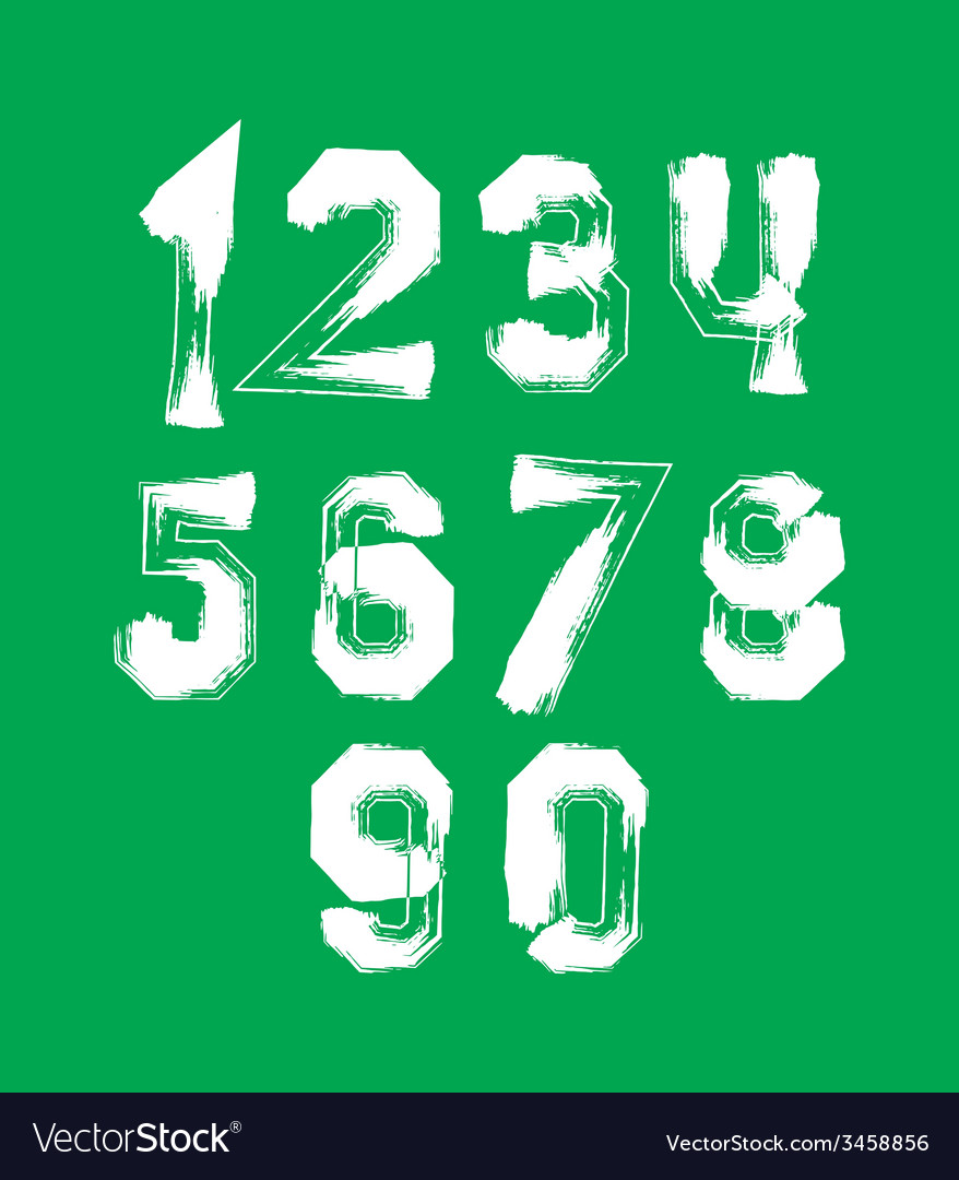 Creative handwritten over color numbers set from 0